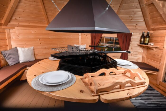 Grill Cabin 9.2 m2 With Glass Roof and PREMIUM Grill and chimeny KIT2