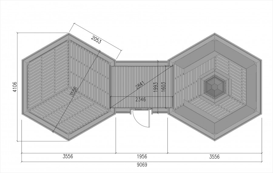 Grill cabin 9.2 double drawings Viking PLAN