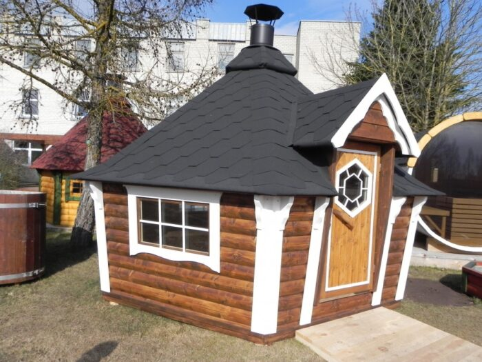 Grill cabin with sloping walls 6