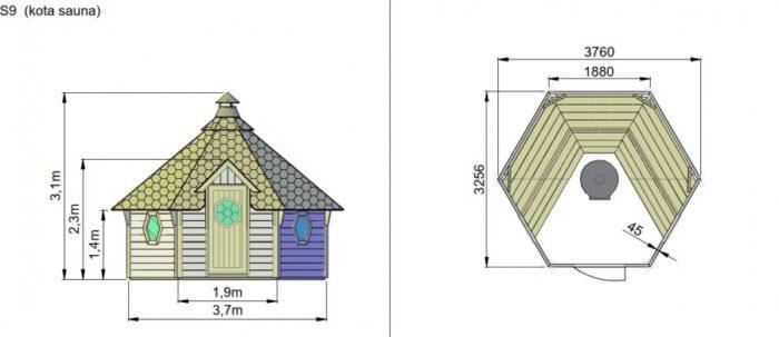Sauna 9 m2 dimensions