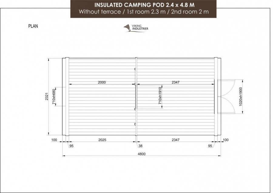 Geisoleerde kampeer pod 2.4 x 4.8m tekening