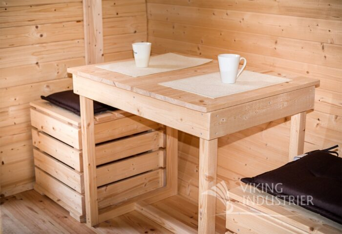 Sleeping barrel ICE VIKING dinner table and pouf 1